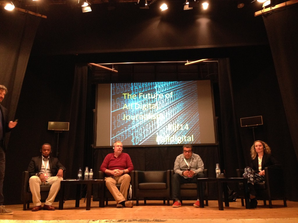"""'The Future of All-digital Journalism, part II"""" panel discussion. Photo by Lillie Mazitova"""